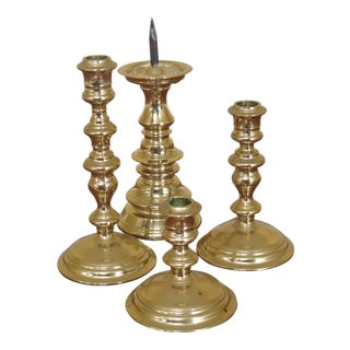 Vintage Virginia Metalcrafters 4 Pc Colonial Williamsburg Brass Candlestick Lot - Set of 4 For Sale