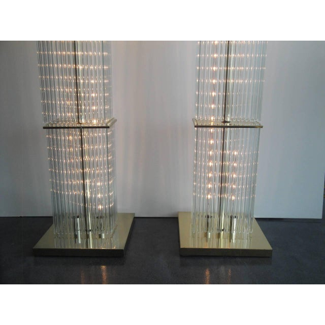 Pair of Sciolari Brass and Glass Floor Lamps for Lightolier - Image 9 of 9