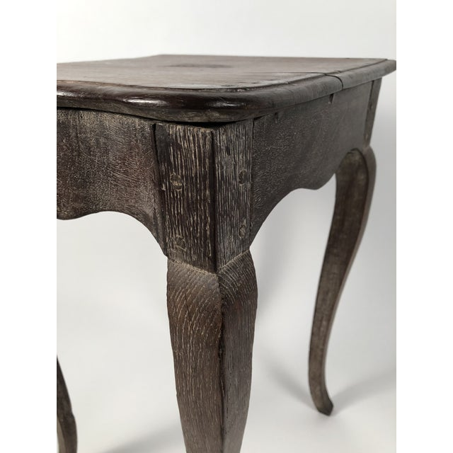 Gray Small Louis XV Style Walnut and Limed Oak Side Table For Sale - Image 8 of 11