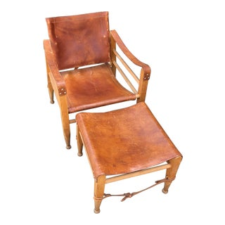1950s Vintage Børge Mogensen Safari Chair and Ottoman For Sale