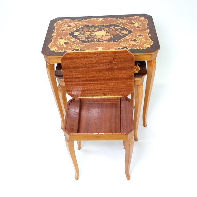 Italian Marquetry Inlay Music Box Nesting Tables For Sale - Image 7 of 8