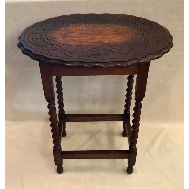 Early 20th Century Antique English Oak Side Table For Sale - Image 10 of 10