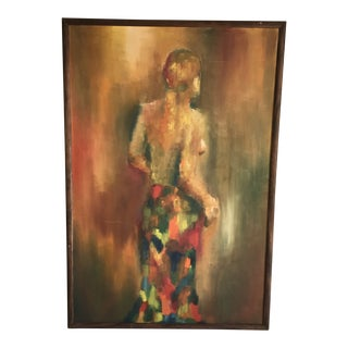 Vintage Midcentury Artisan Painting of a Woman For Sale