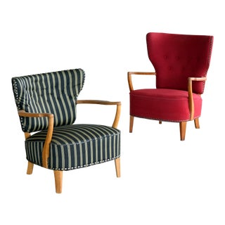 Pair of Danish Midcentury Otto Schulz Style Floating Back Lounge Chairs For Sale