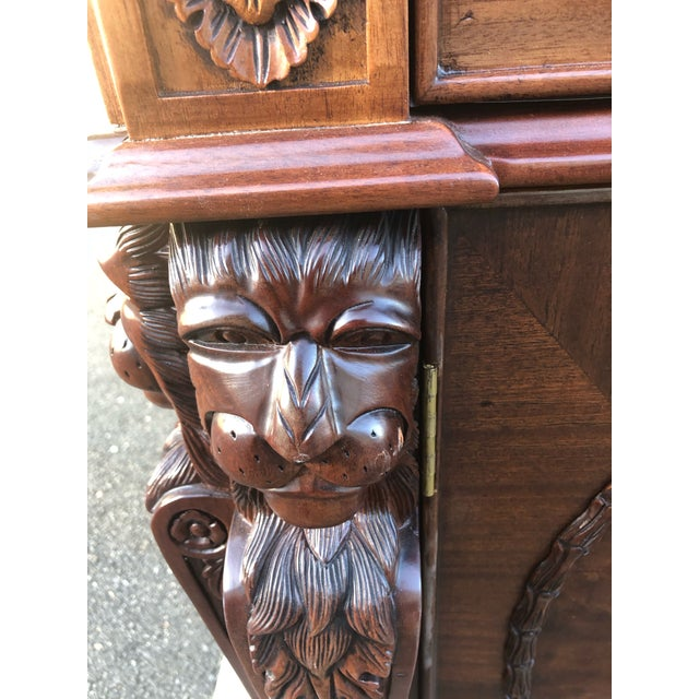 Wood Mahogany Chippendale Style Double Pedestal Partners Desk For Sale - Image 7 of 12