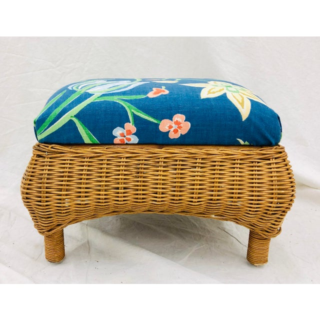 Arthur Umanoff Vintage Woven Wicker Foot Stool For Sale - Image 4 of 7