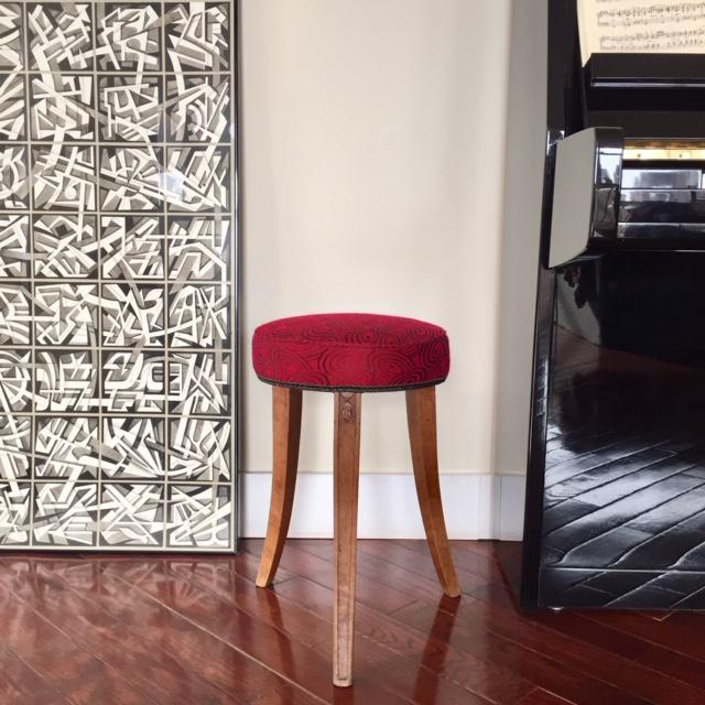 Early 20th Century Early 20th Century French Art Deco Wood and Red Fabric Round Stool For Sale - Image 5 of 10
