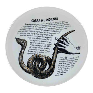 Piero Fornasetti 1960's Cobra a L'Indienne Improbable Recipe Plate for Fleming Joffe For Sale