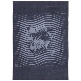 Vintage Scandinavian Maurits Escher Fish Blue Artistic Rug - 5′7″ × 8′ For Sale