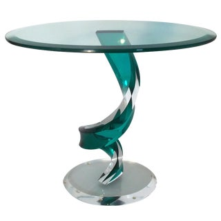 20th. Century Haziza Lucite & Glass Emerald Green Oval Side Table For Sale