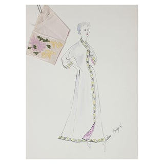 1950s Fashion Illustration & Fabric Swatch For Sale