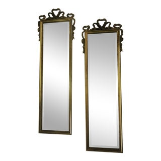 Vintage Carolina Mirrors Louis XVI Style Full Length Mirrors With Beveled Glass and Bow Details - a Pair For Sale