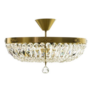 Crystal Plafond Brass Chandelier For Sale
