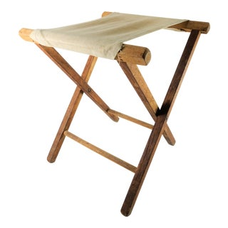 Vintage Rustic Folding Wood Camp Stool For Sale