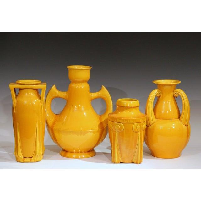 Large Awaji Art Deco Studio Pottery Japanese Wing Handled Golden Yellow Vase For Sale - Image 10 of 11
