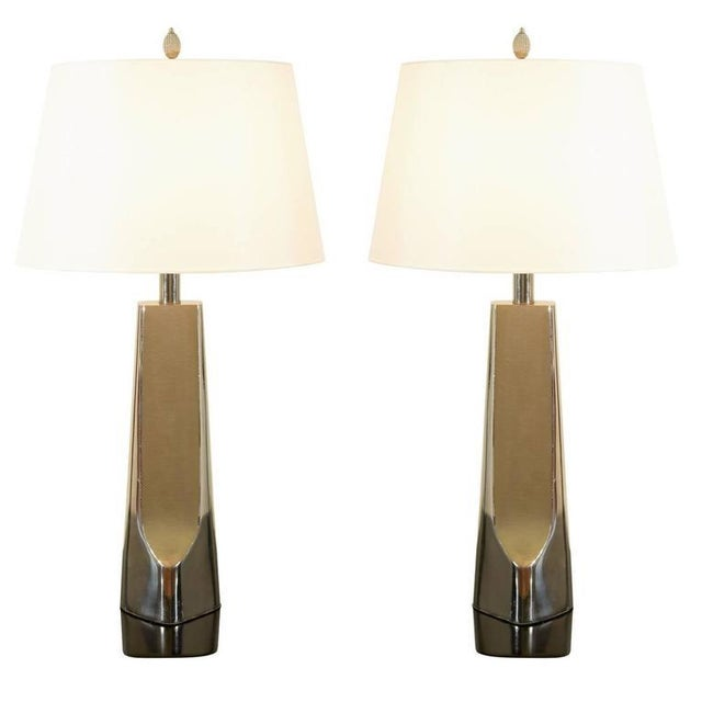 Sculptural Restored Pair of Cast Metal Lamps by Laurel in Nickel For Sale - Image 10 of 10