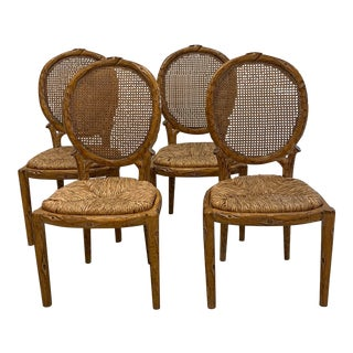 Faux Bois Dining Chairs - Set of 4 For Sale