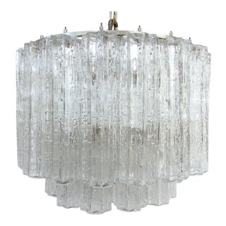 Italian Mid-Century Modern Venini Blown Glass Two Tiered Chandelier For Sale