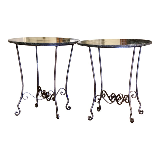 Mid-Century French Polished Wrought Iron and Marble Patio Side Tables - a Pair For Sale