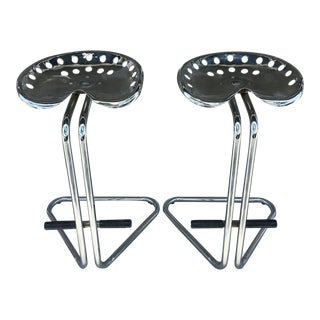 Cantilevered Chrome Tractor Seat Bar Stools- A Pair