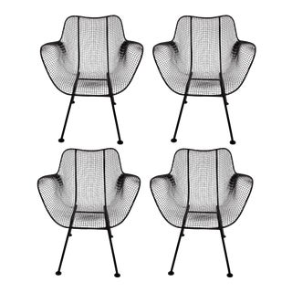 1950s Russell Woodard Sculptura Black Iron Mesh Dining Armchairs- Set of 4 For Sale