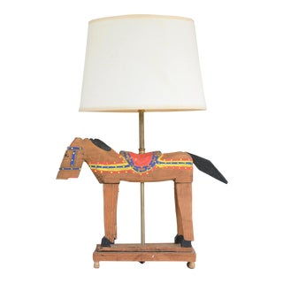 1960s, Hand Carved Wooden Horse Lamp, Hand Painted, Mid-Century For Sale