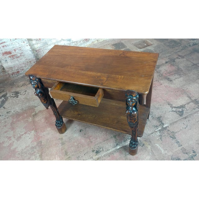 Antique Side table w/two carved Nude Female Figures For Sale In Los Angeles - Image 6 of 12