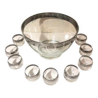 Vintage Dorothy Thorpe Silver Rim Roly Poly Punch Bowl Set - 10 Piece Set For Sale