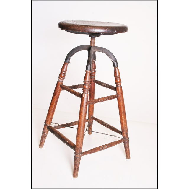 Vintage Industrial Wood & Cast Iron Adjustable Counter Stool - Image 3 of 11