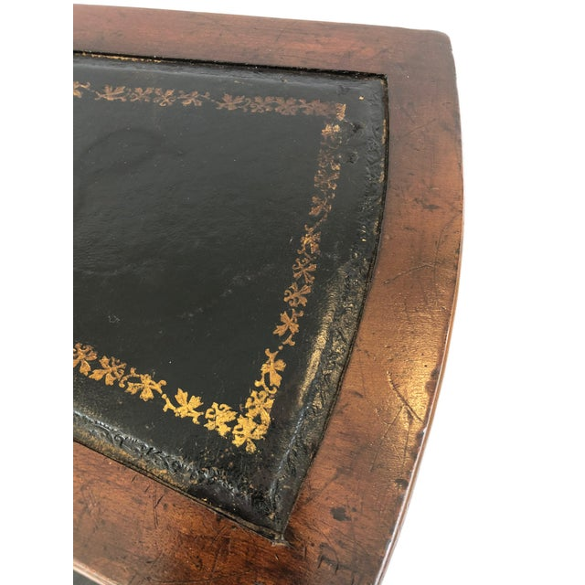 1980s Vintage English Style Decorative Mahogany & Embossed Leather Library Stairs For Sale - Image 11 of 12