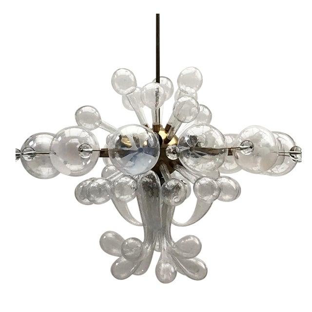1960s Czech Republic Glass Suspension Chandelier For Sale