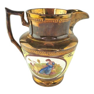 English Adam Buck Panels Copper Luster Ware Pitcher For Sale