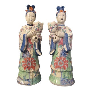 Famille Rose Enamel Court Ladies Candle Holders - A Pair For Sale