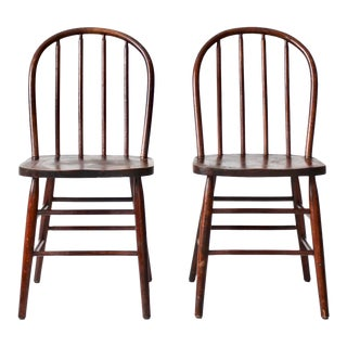 Vintage Spindle Back Dining Chairs - a Pair For Sale