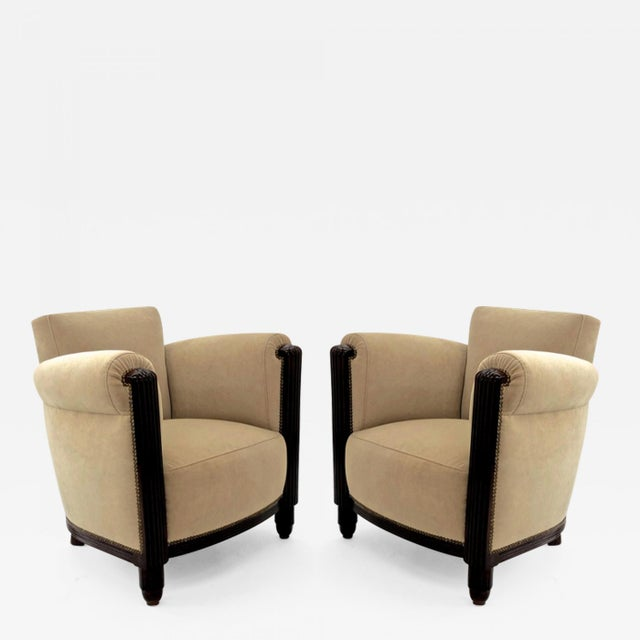 Wood Paul Follot Pair of Comfy Club Chair For Sale - Image 7 of 7