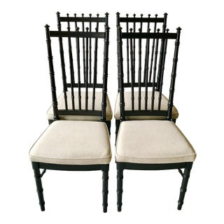 1970s Vintage Black Faux Bamboo Upholstered Dining Chairs- Set of 4 For Sale