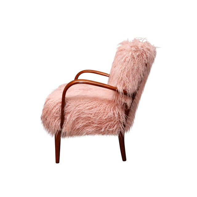 Pink Mid-Century Curated Danish Curved Arm Lounge Chair For Sale - Image 8 of 10