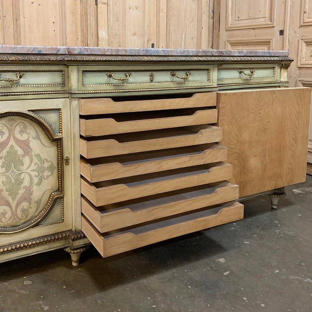 Green Antique Italian Marble Top Painted Buffet For Sale - Image 8 of 13