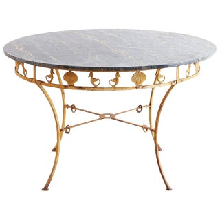 Italian Neoclassical Iron and Marble Garden Patio Table For Sale