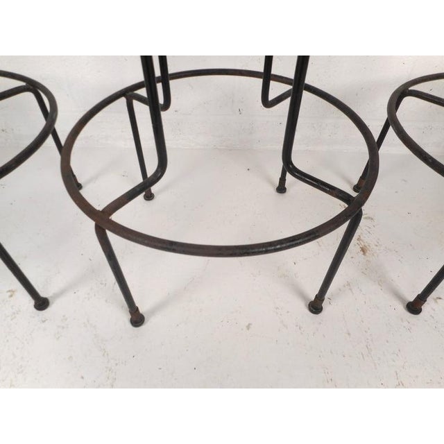 Set of Mid-Century Modern Wrought Iron Bar Stools by Frederick Weinburg For Sale In New York - Image 6 of 8