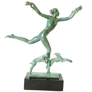 Derenne Style Art Deco Nude Dancing Nymph Bronze Statue with Black Marble For Sale