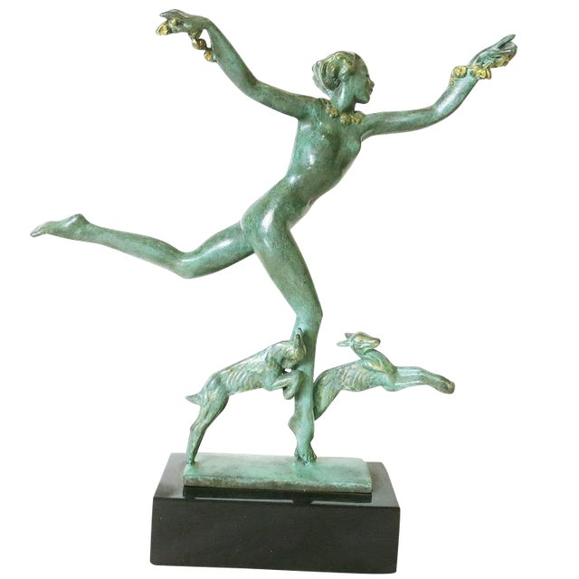 Derenne Style Art Deco Nude Dancing Nymph Bronze Statue with Black Marble - Image 1 of 8