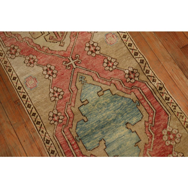 Textile Narrow Antique Turkish Oushak Runner For Sale - Image 7 of 8