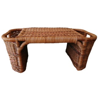 Wicker Cane Boho Chic Woven Vintage Bed Tray For Sale