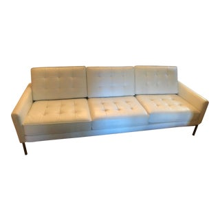 Mid-Century White Leather Sofa For Sale