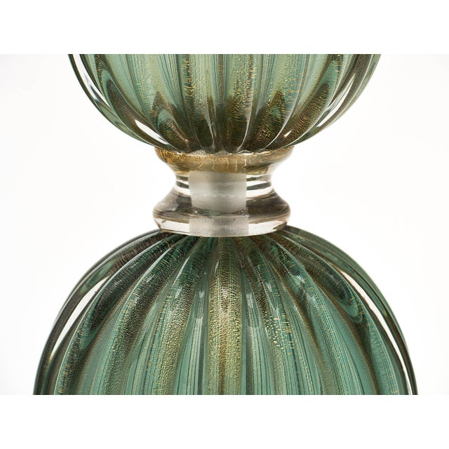 Glass Green Avventurina Murano Glass Lamps For Sale - Image 7 of 10