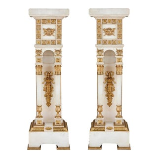 Neoclassical Style White Marble and Gilt Bronze Pedestals-a Pair For Sale