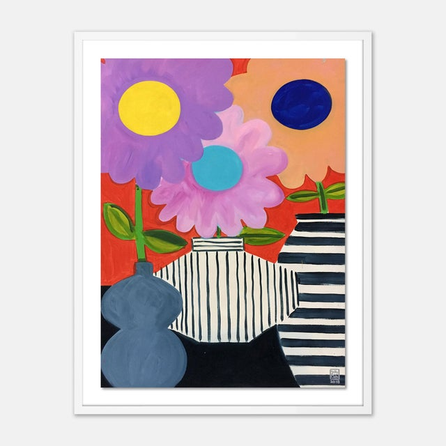 Jelly Chen Big Flowers by Jelly Chen in White Framed Paper, Medium Art Print For Sale - Image 4 of 4