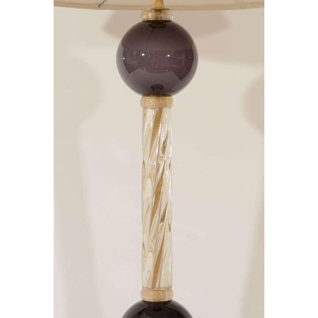 Brown Murano Glass Lamps - A Pair For Sale - Image 8 of 8