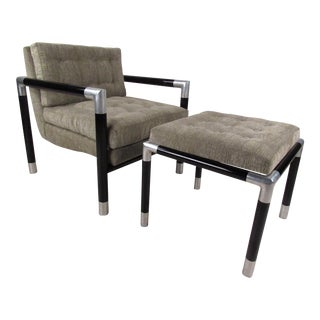 Mid-Century Modern Dunbar Style Lounge Chair With Ottoman For Sale